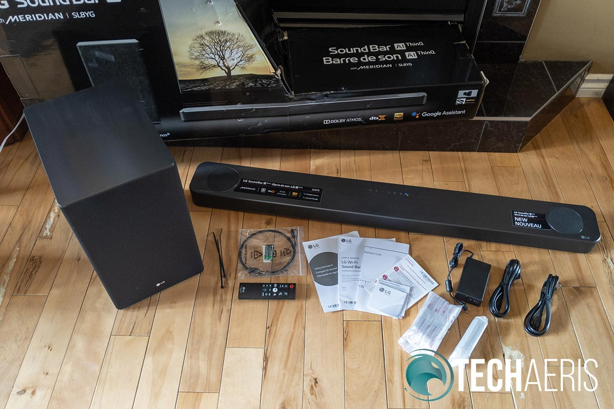 What's included with the LG SL8YG 3.1.2 Channel Soundbar