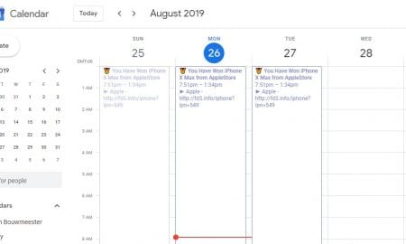 Spam events in Google Calendar screenshot