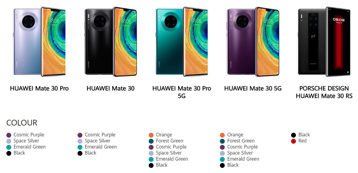 The Huawei Mate 30 Series family of smartphones.