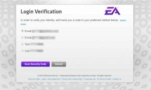 EA Login Verification screen