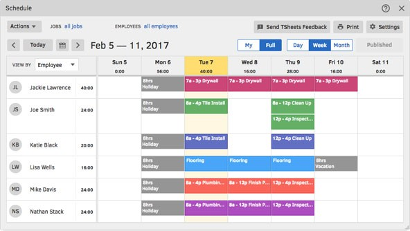 TSheets employee scheduling software providers for businesses