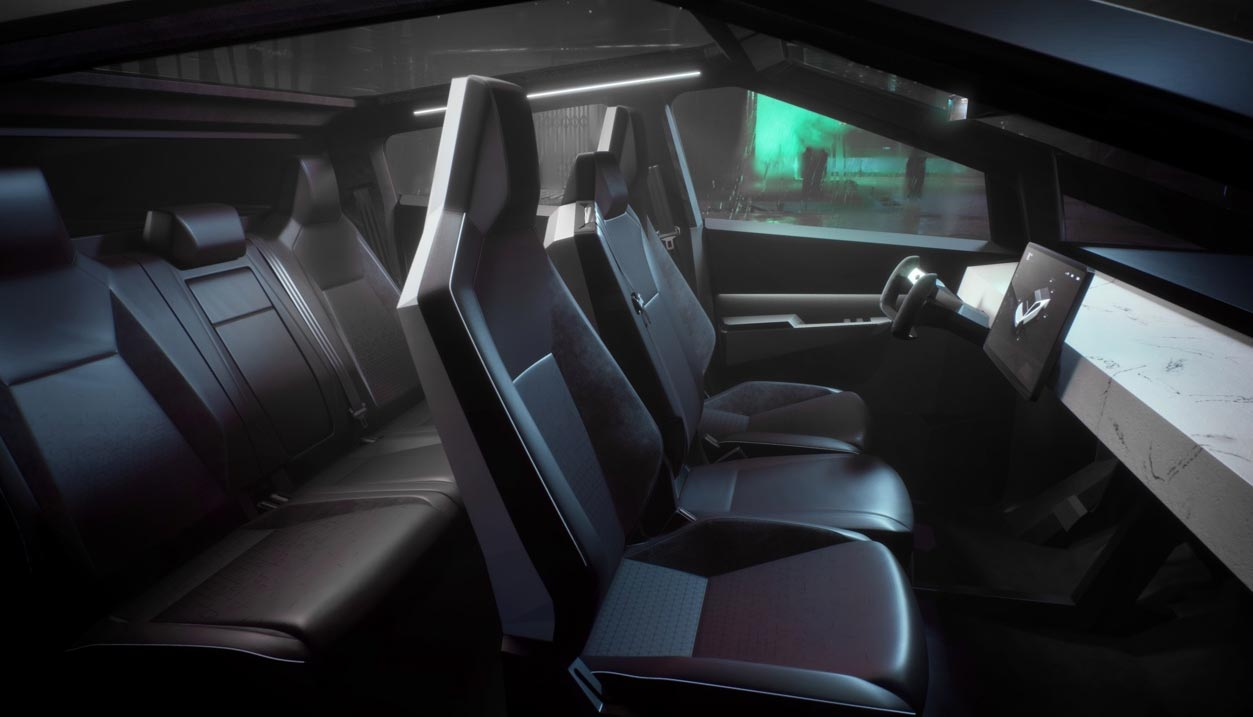 The interior of the Tesla Cybertruck