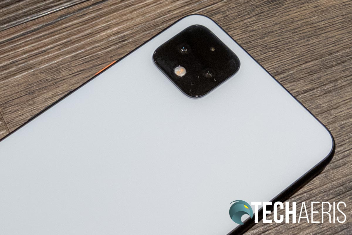 The rear camera bump on the back of the Google Pixel 4 XL