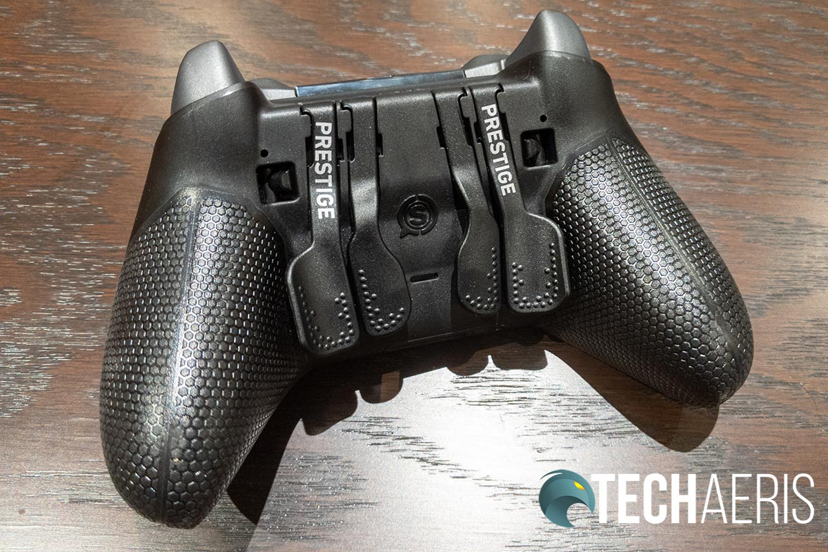 The paddles and trigger locks on the SCUF Prestige Xbox One/PC game controller