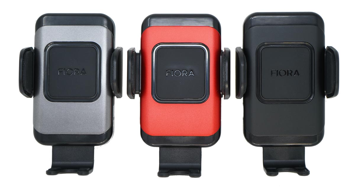 Three of the Fiora Ultimate Wireless Car Charger colour options