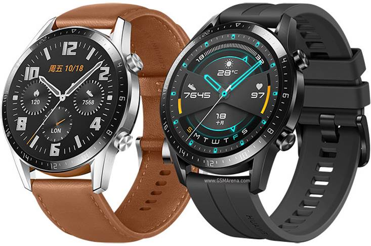 The Huawei Watch GT 2 Classic (left) and Sport 46mm Series smartwatches