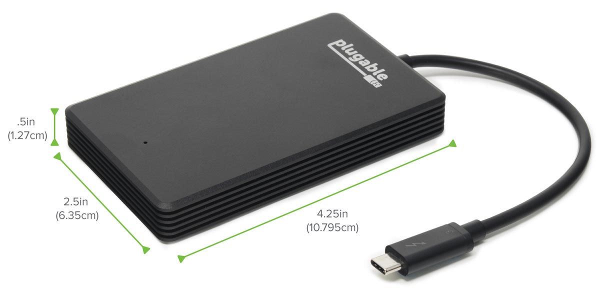 Dimensions of the Plugable Thunderbolt 3 NVMe External SSD drive