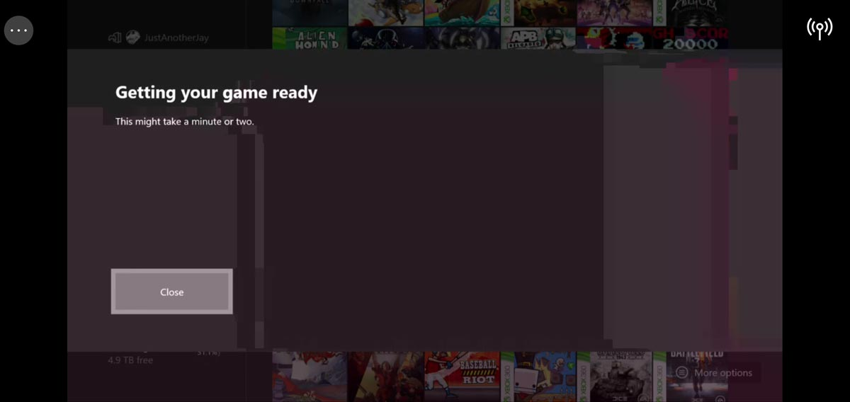 Xbox Game Streaming (Preview) Android app screenshot showing Xbox One menu artifacts