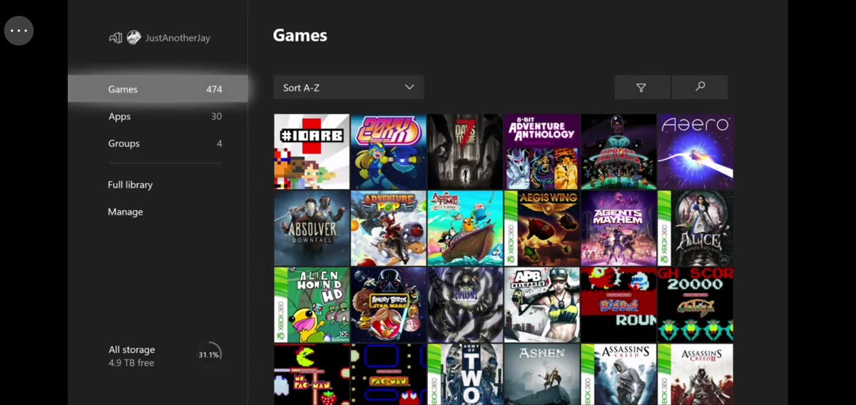 Xbox Game Streaming (Preview) Android app screenshot showing Xbox One game library