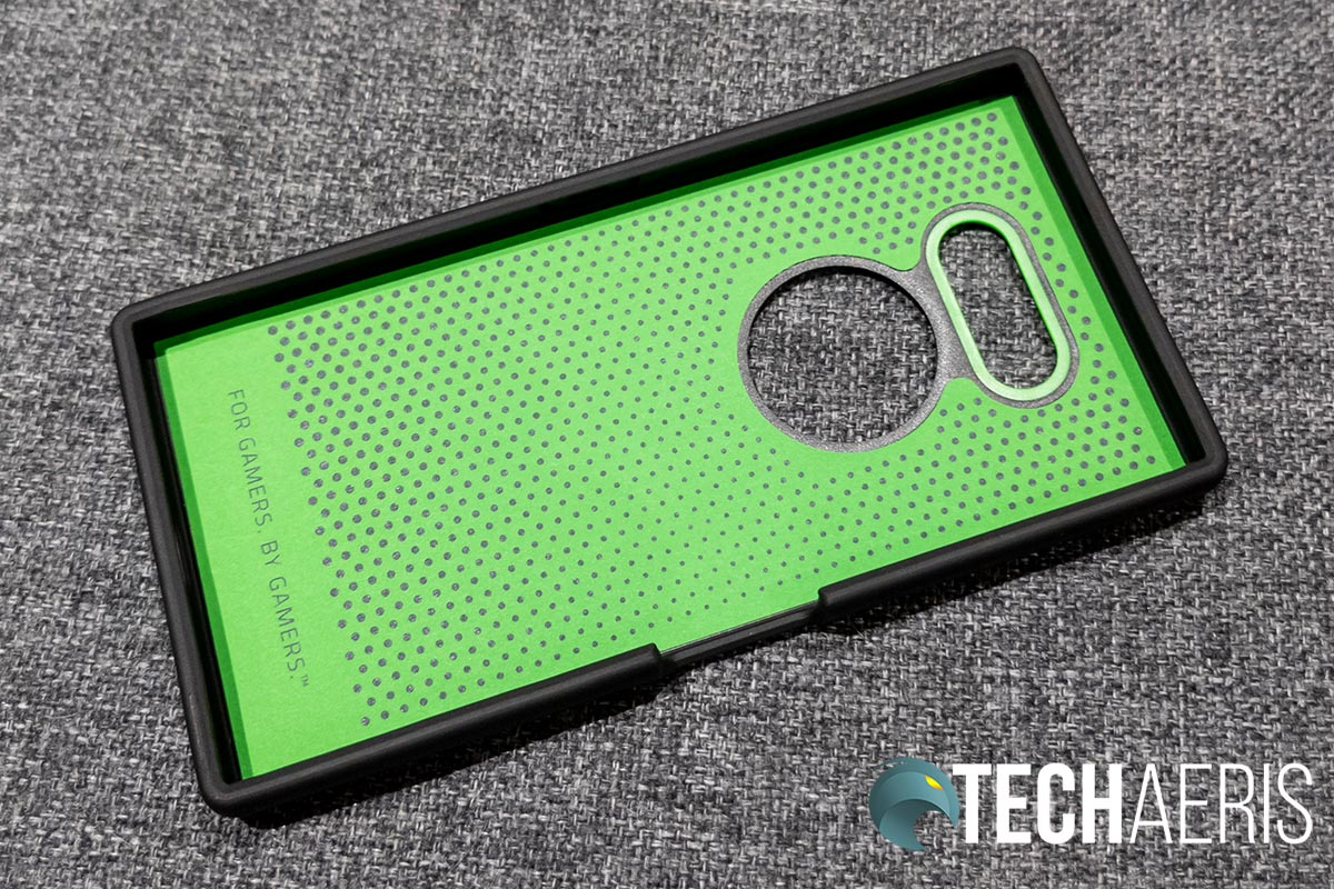The inside of the Razer Arctech Pro smartphone case for Razer Phone 2