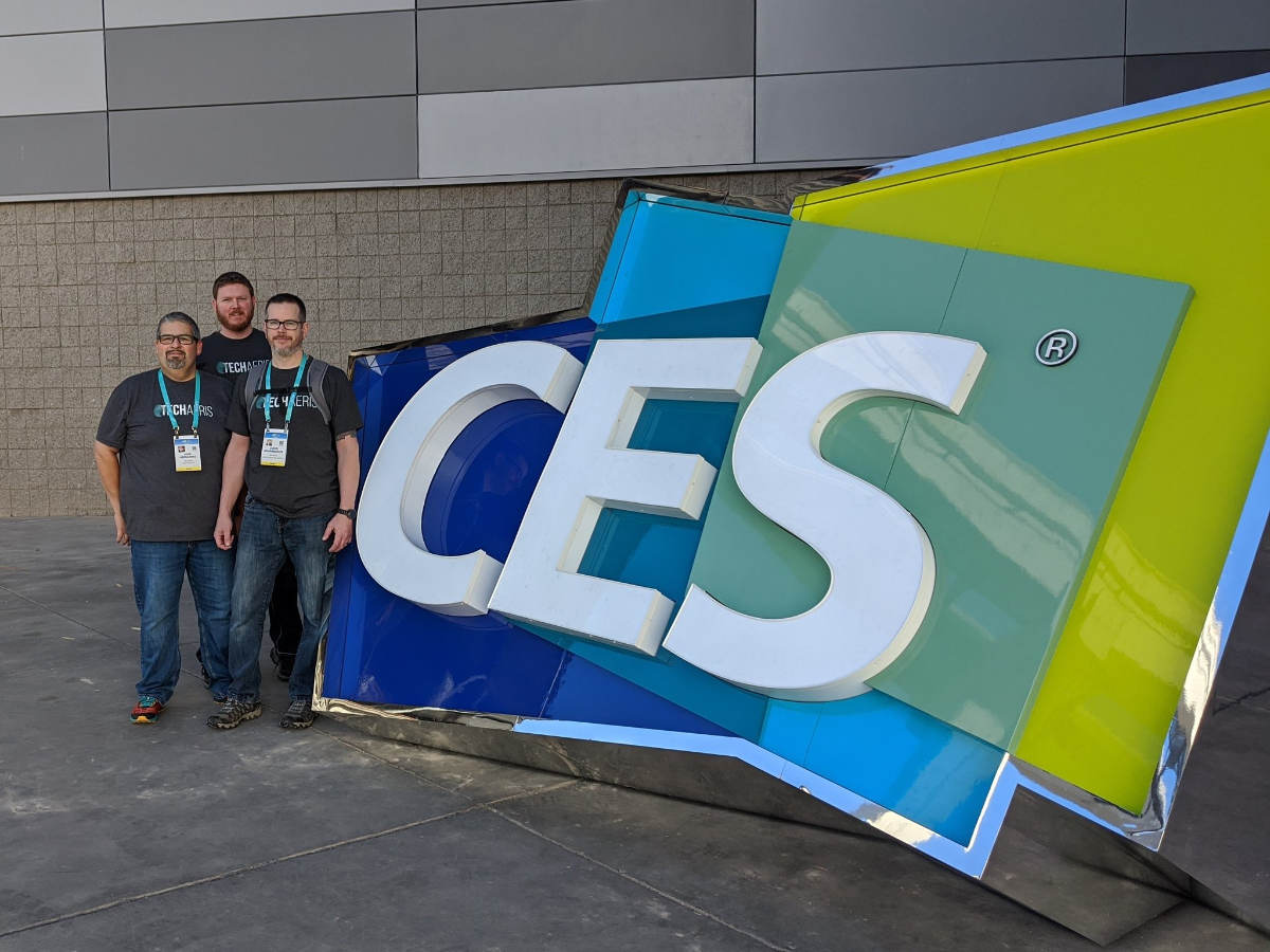 Alex Hernandez, Josh Tryon, and Jason Bouwmeester at CES 2020 in Las Vegas