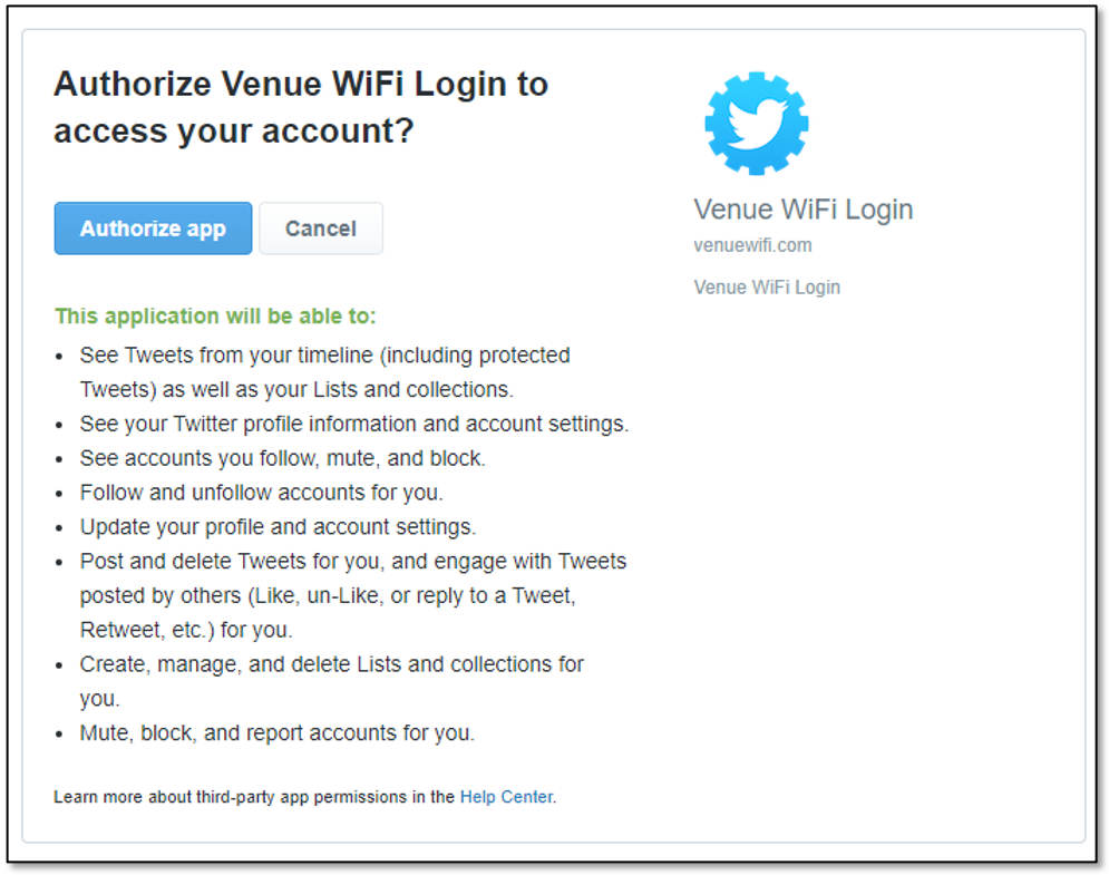 free Wi-Fi social media account
