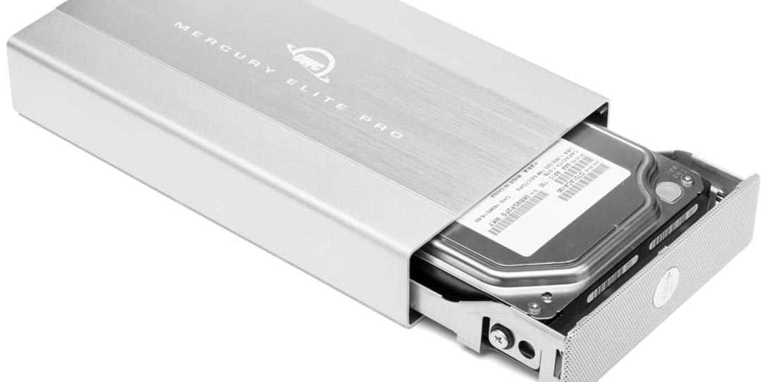 OWC Mercury Elite Pro open with hard drive showing