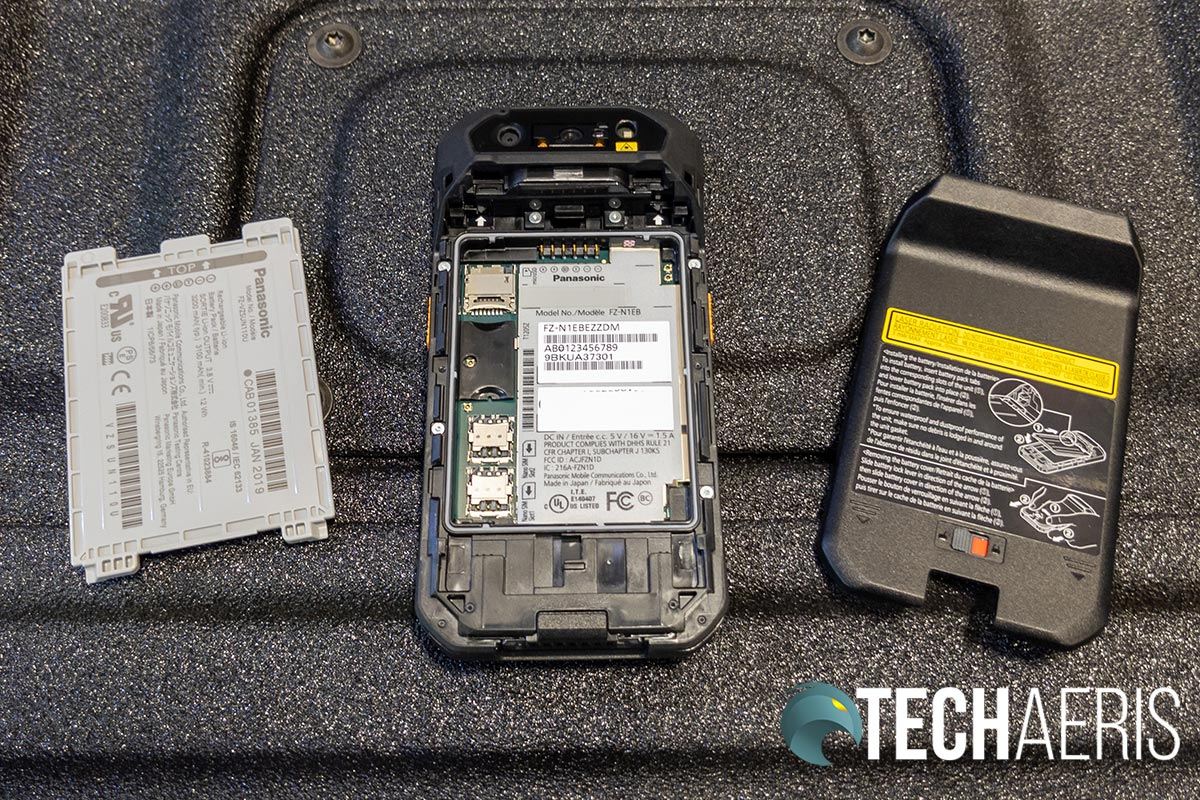The removable warm swappable battery on the Panasonic Toughbook N1 smartphone