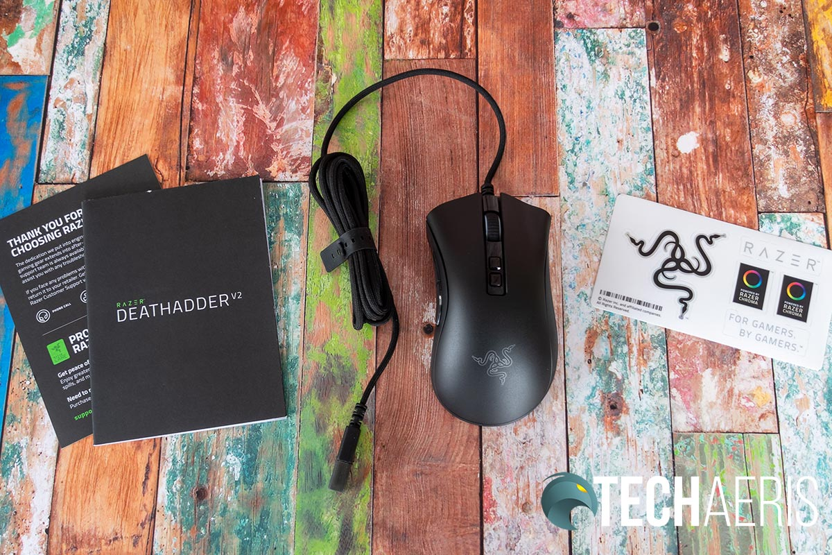 What's included with the Razer DeathAdder V2 ergonomic wired gaming mouse