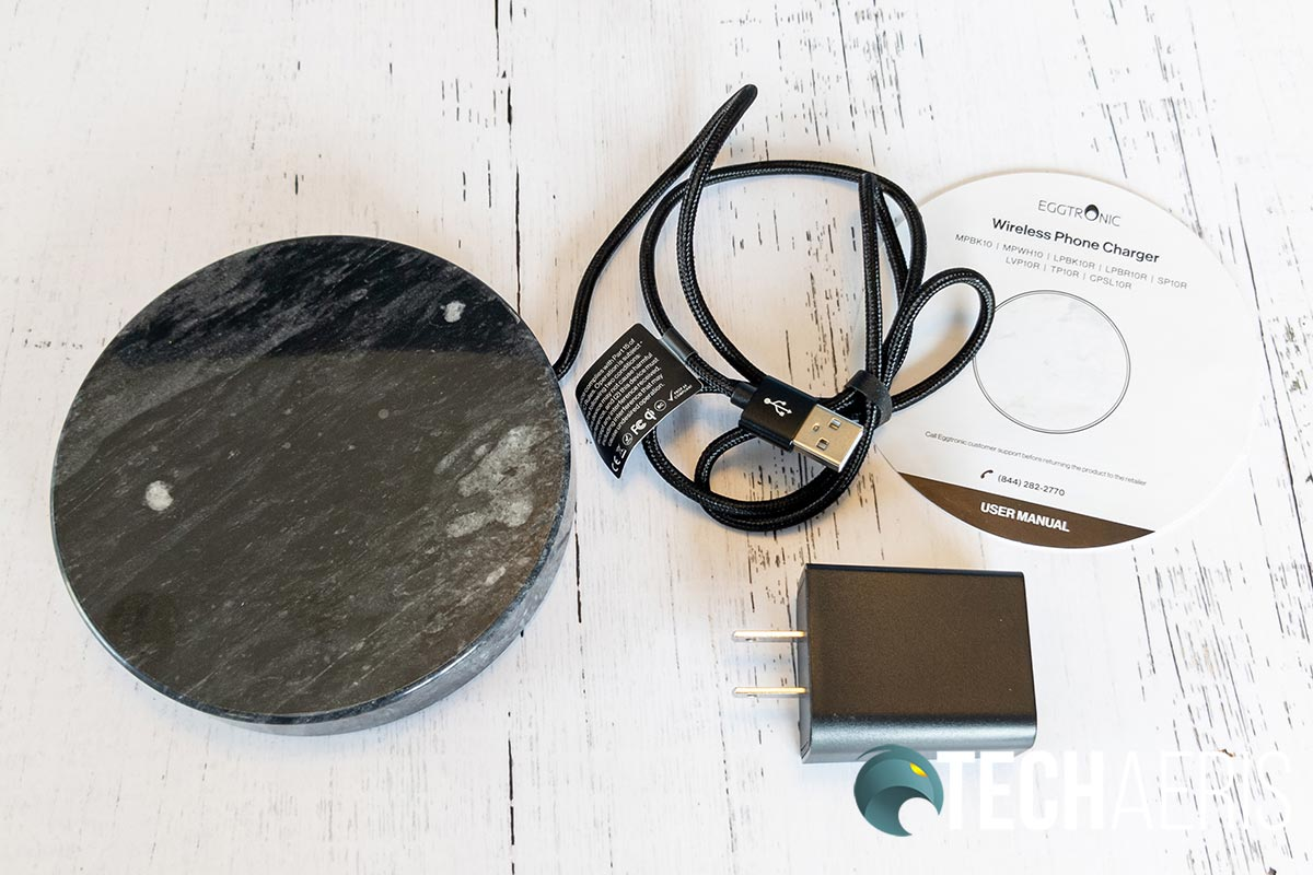 What's included with the Eggtronic Wireless Charging Stone