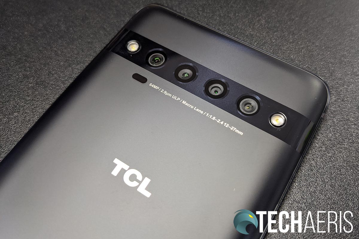 The quad camera strip on the back of the TCL 10 Pro Android smartphone