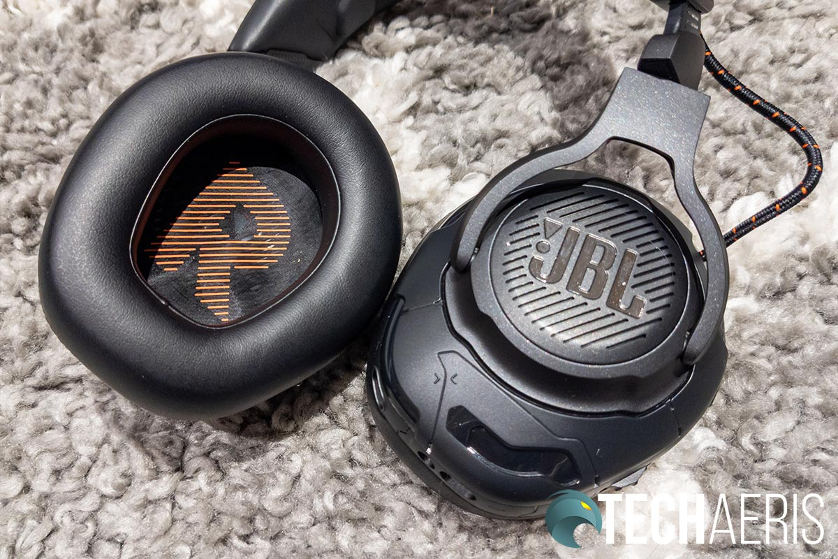 The earcups and earpads on the JBL Quantum ONE gaming headset