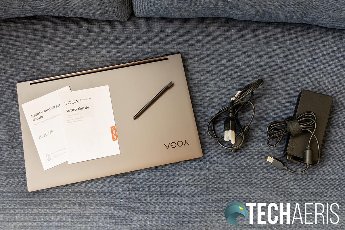 """What's included with the Lenovo Yoga C940 15"""" laptop"""