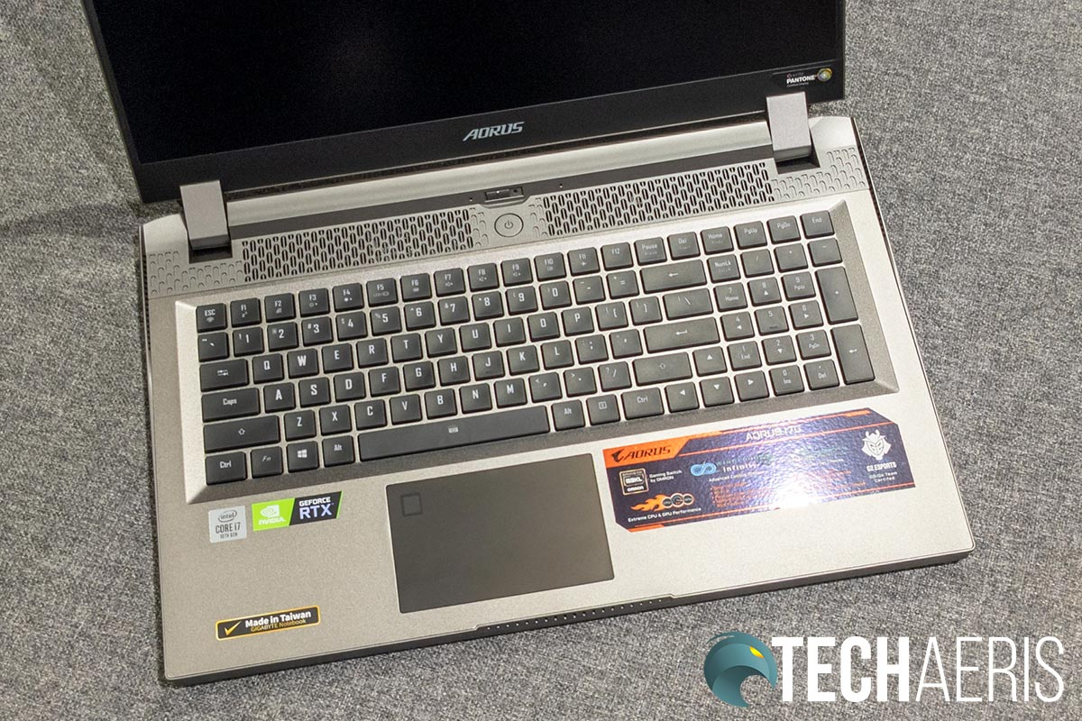 The full-sized keyboard with Omron mechanical switches on the GIGABYTE AORUS 17G gaming laptop
