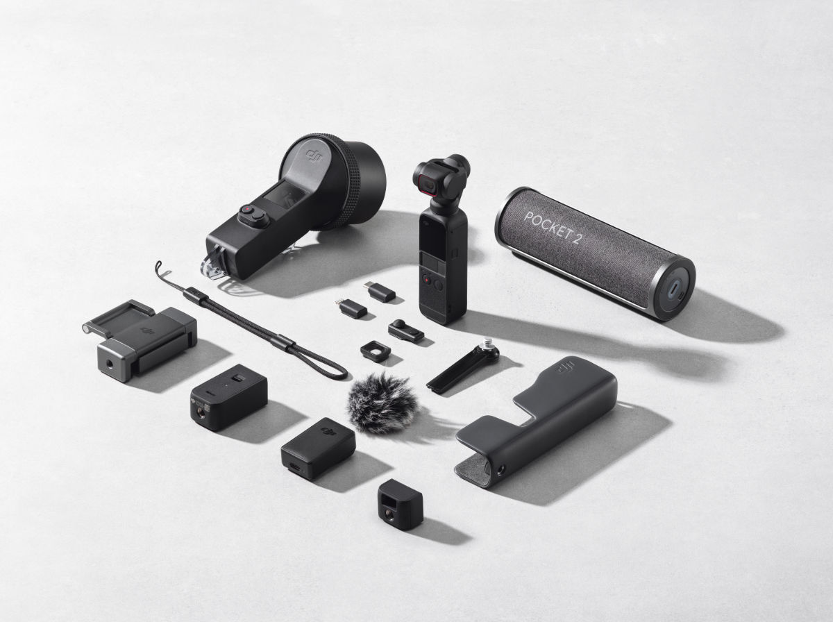 The DJI Pocket 2 with accessories.