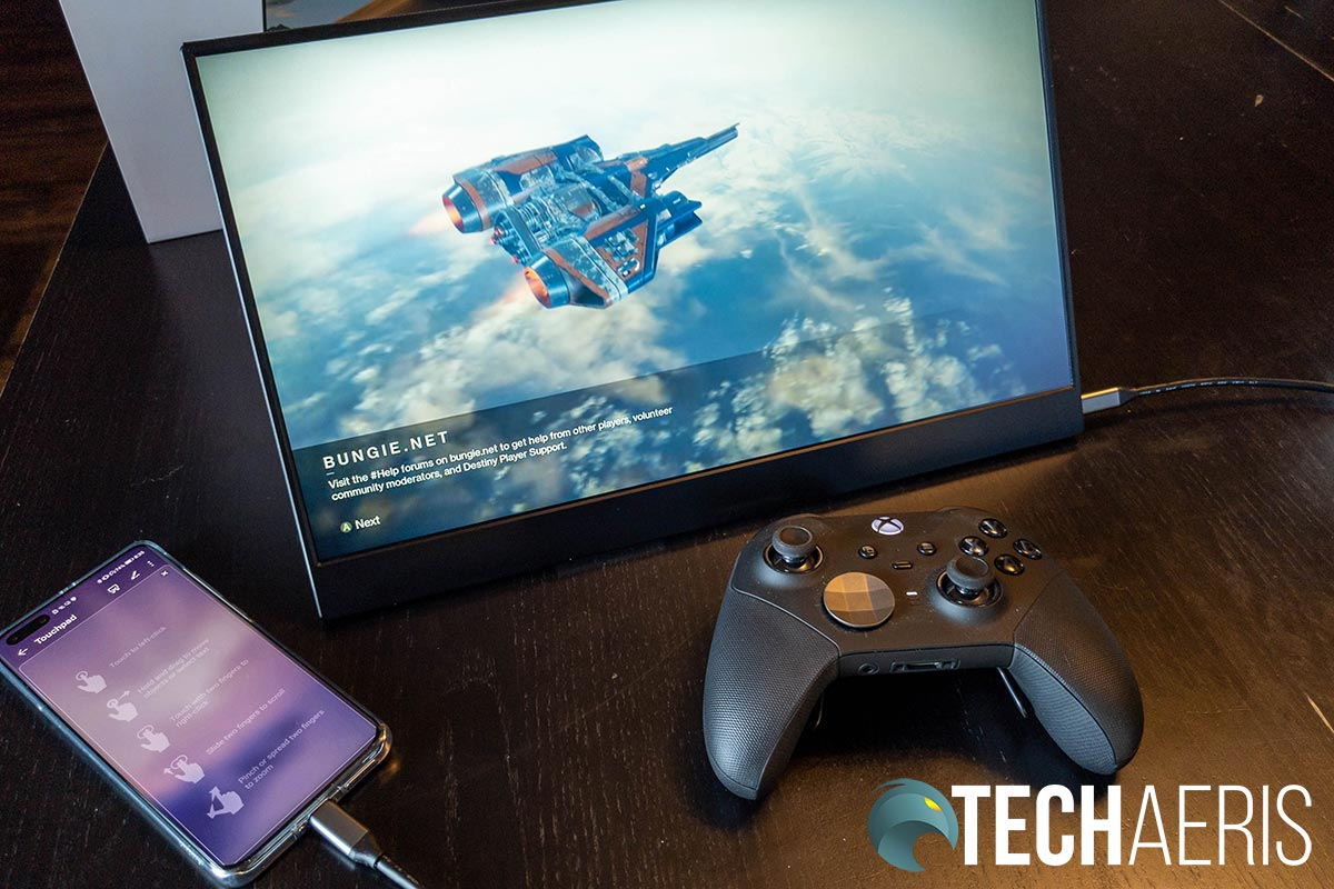Playing Destiny 2 on the Vissels-M portable touchscreen monitor connected to a smartphone with Xbox Game Pass