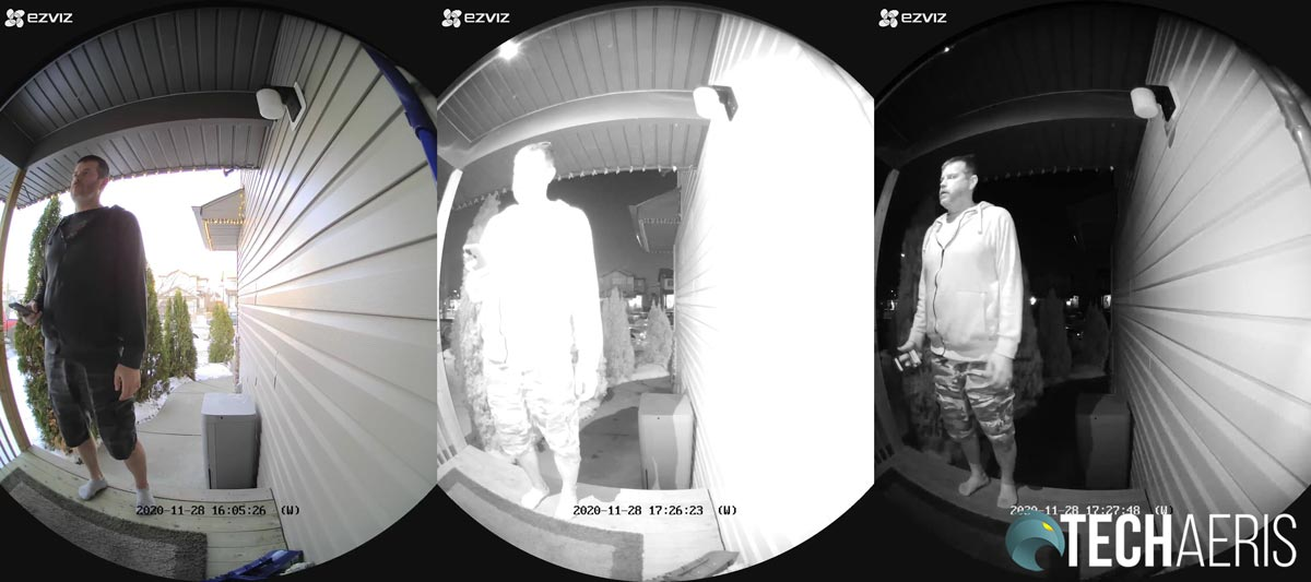 Sample images from the DB1 Wi-Fi Video Doorbell (L to R): daytime with brightness adjusted, night vision with brightness adjusted, night vision with brightness to default