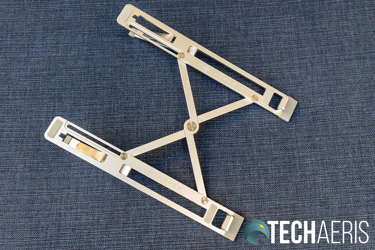 The HyperStand portable laptop stand fully expanded