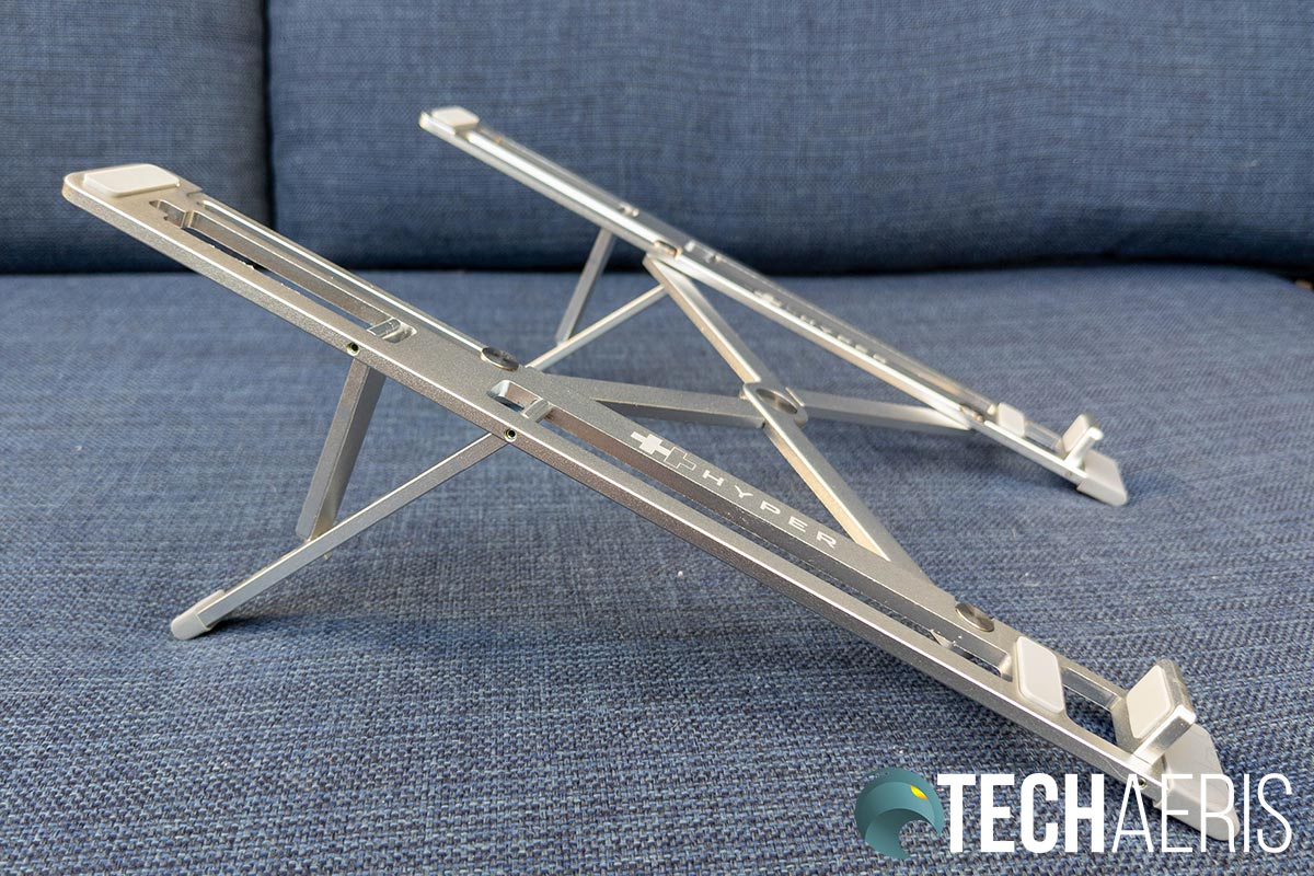 The HyperStand portable laptop stand fully expanded in the middle position