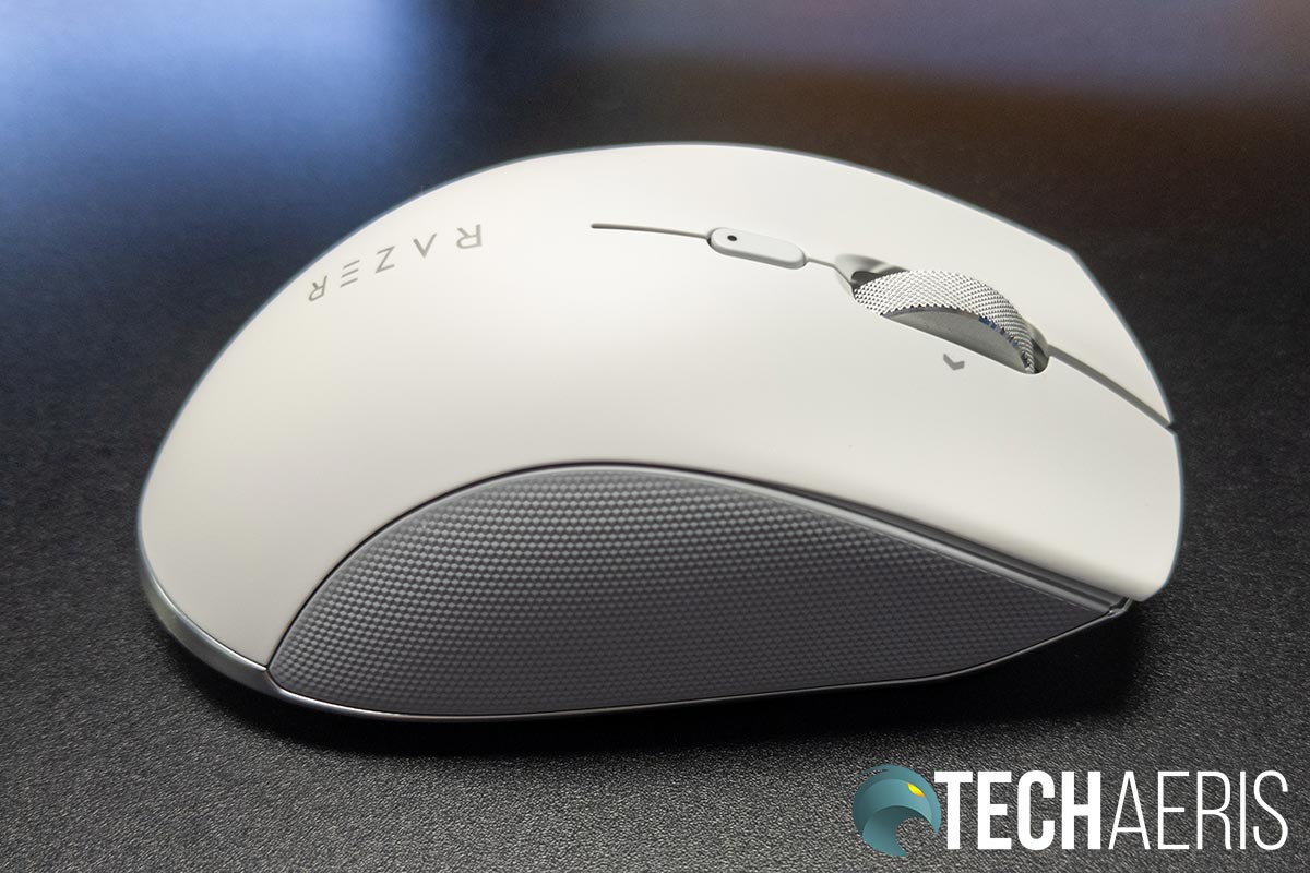 The right side of the Razer Pro Click ergonomic productivity mouse showing the textured grip (which is also on the left side)