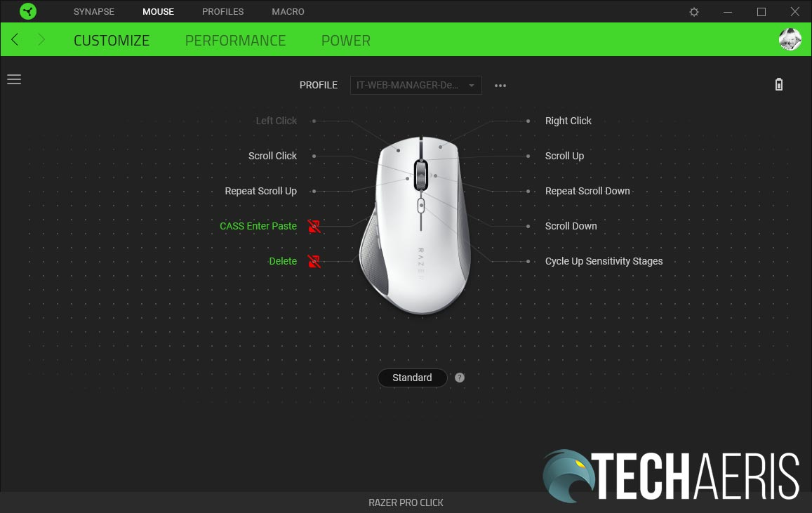 The Razer Synapse 3 software allows you to program buttons, adjust DPI, and change power settings