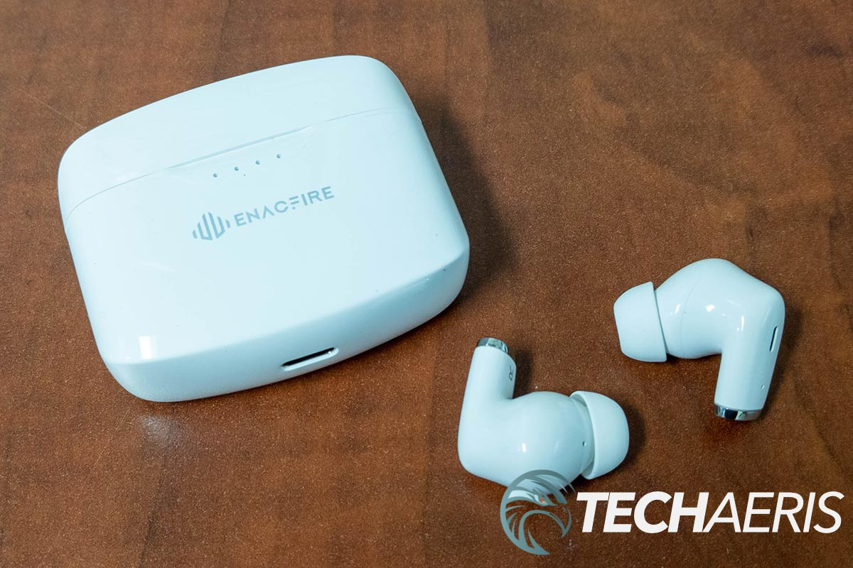 The Enacfire E90 True Wireless Stereo Earphones with included charging case