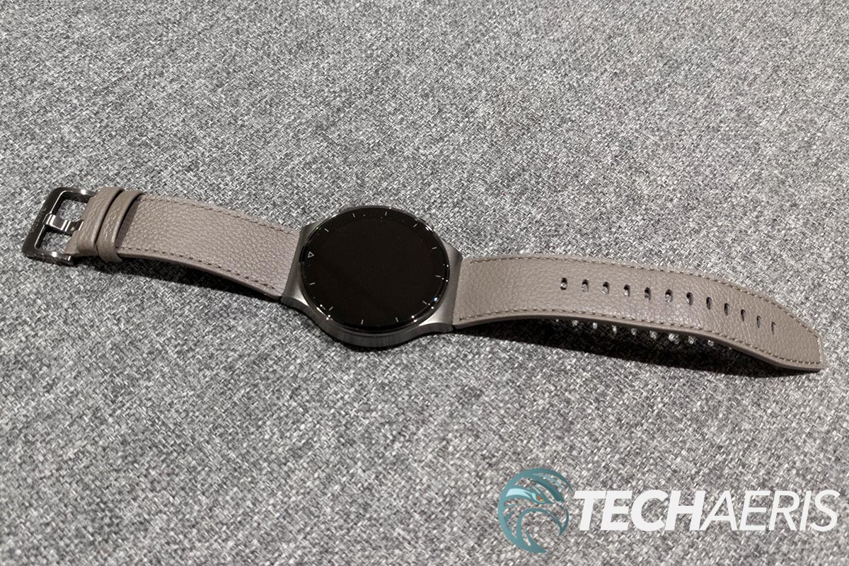 The Huawei Watch GT 2 Pro with gray brown leather strap