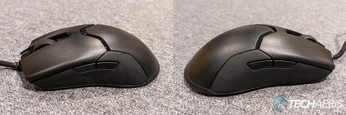 Left and right side views of the Razer Viper 8K ambidextrous gaming mouse