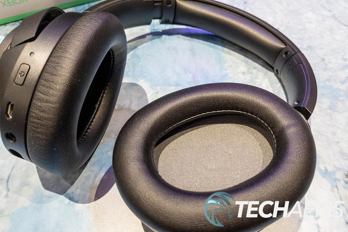 The earpads on the LucidSound LS15X gaming headset for Xbox