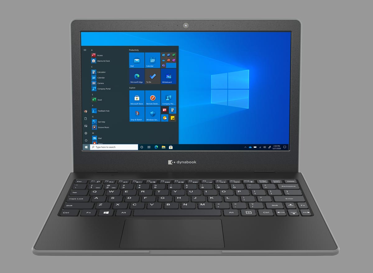The Dynabook E10 Windows 10 laptop for education front view