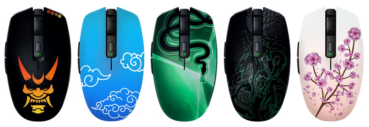 Some of the Razer Customs designs available for the Razer Orochi V2 mobile gaming mouse