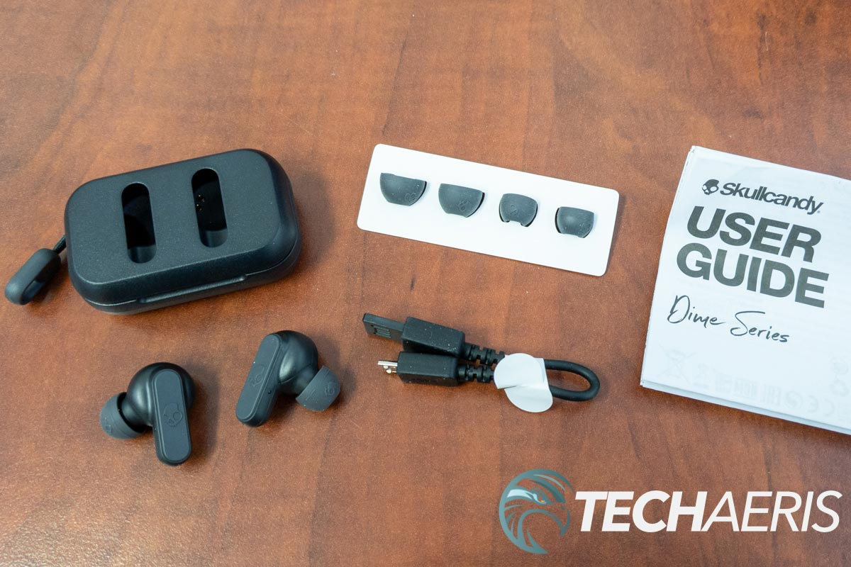 What's included with the Skullcandy Dime true wireless earbuds