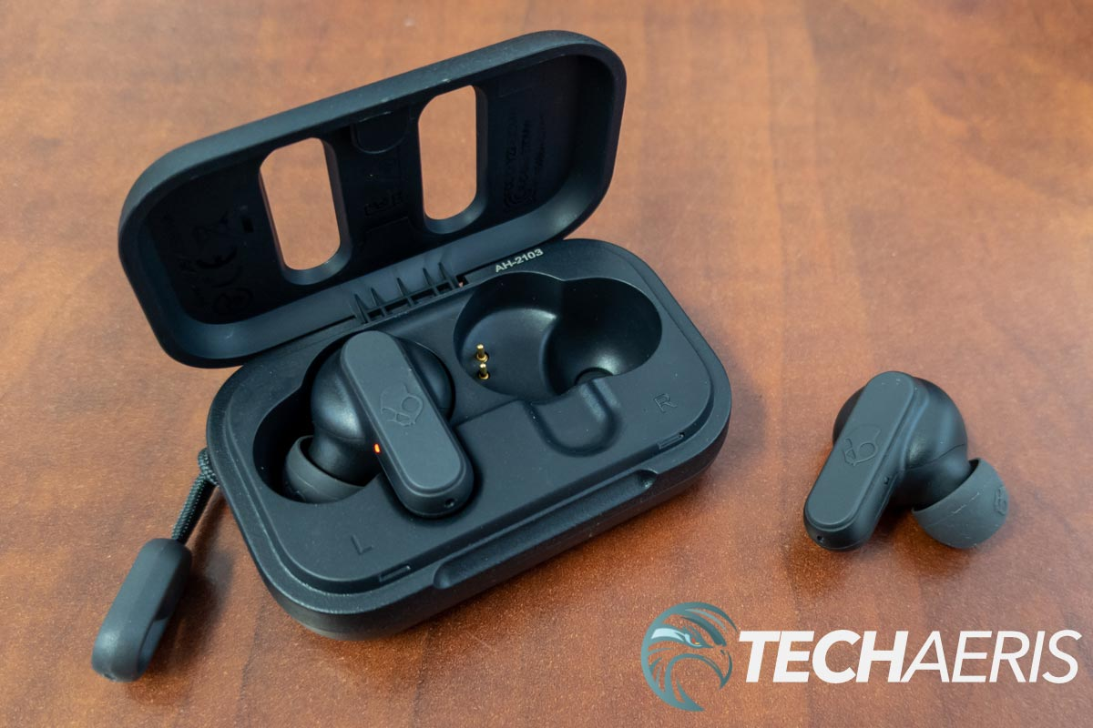 The Skullcandy Dime true wireless earbuds with included charging case