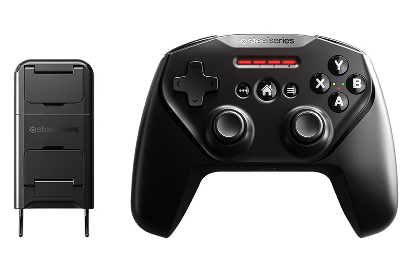 The SteelSeries Nimbus+ game controller with iPhone Mount