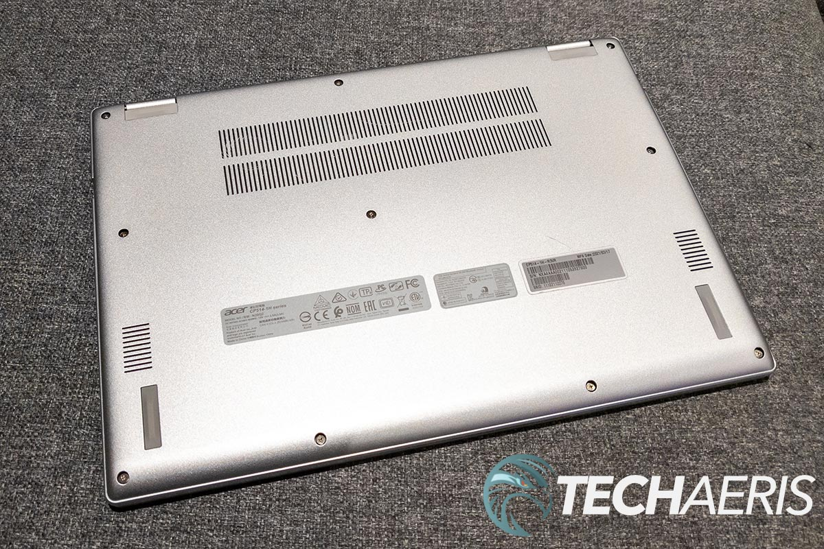 The Acer Chromebook Spin 514's speakers are on the bottom of the laptop