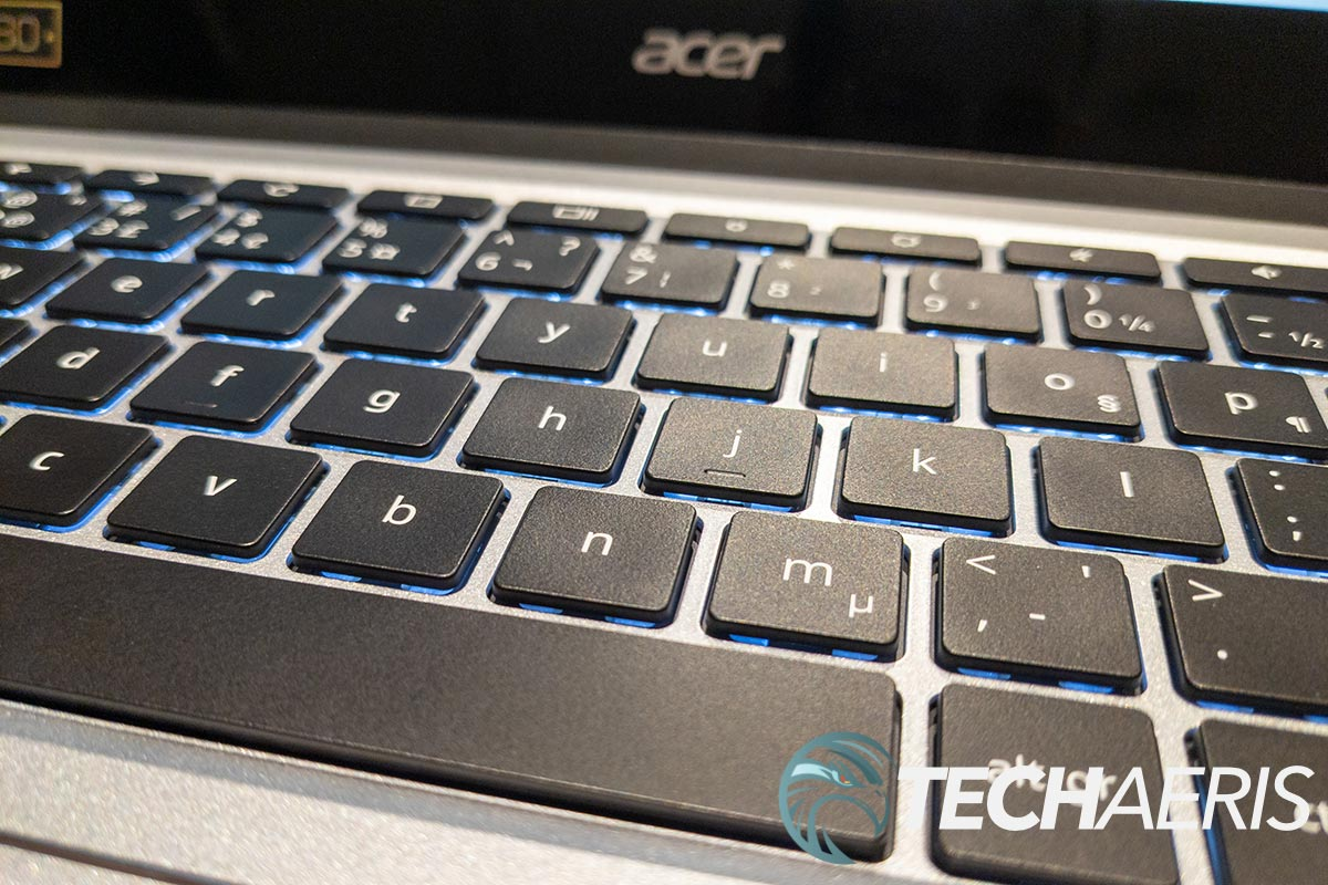 The keyboard on the Acer Chromebook Spin 514 is backlit and has slightly concave keys
