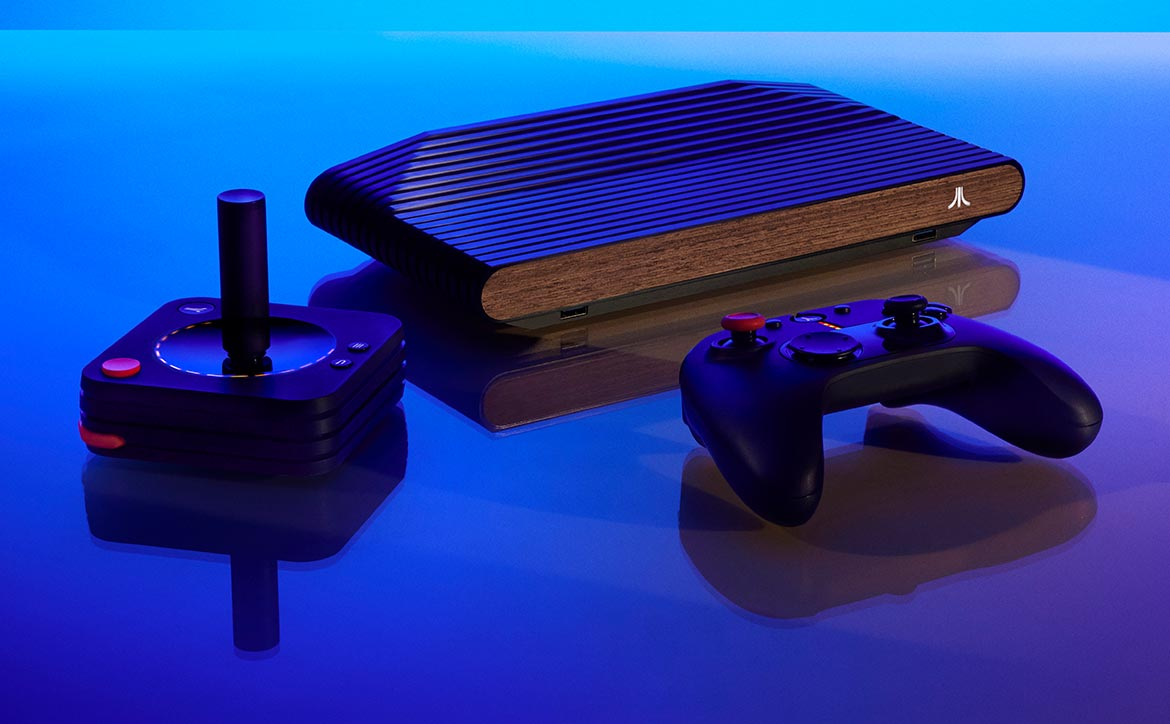 Atari VCS home gaming entertainment system with modern controller and joystick