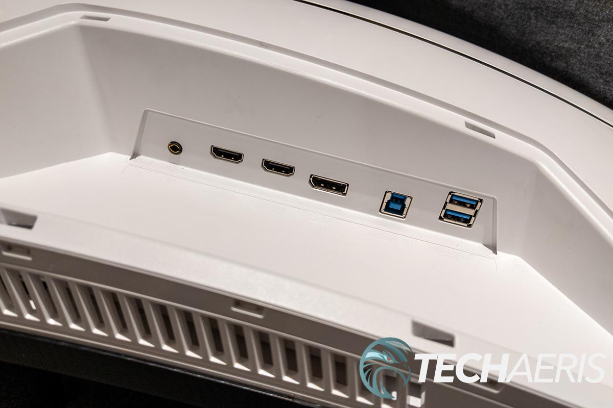 The ports on the back of the Samsung Odyssey Neo G9 ultra-widescreen Quantum Mini LED gaming monitor