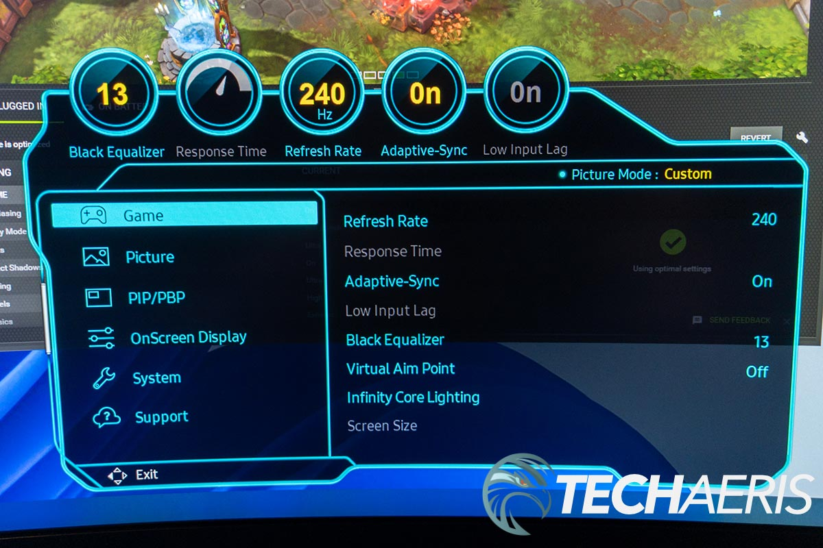 The onscreen menu on the Samsung Odyssey Neo G9 ultra-widescreen Quantum Mini LED gaming monitor