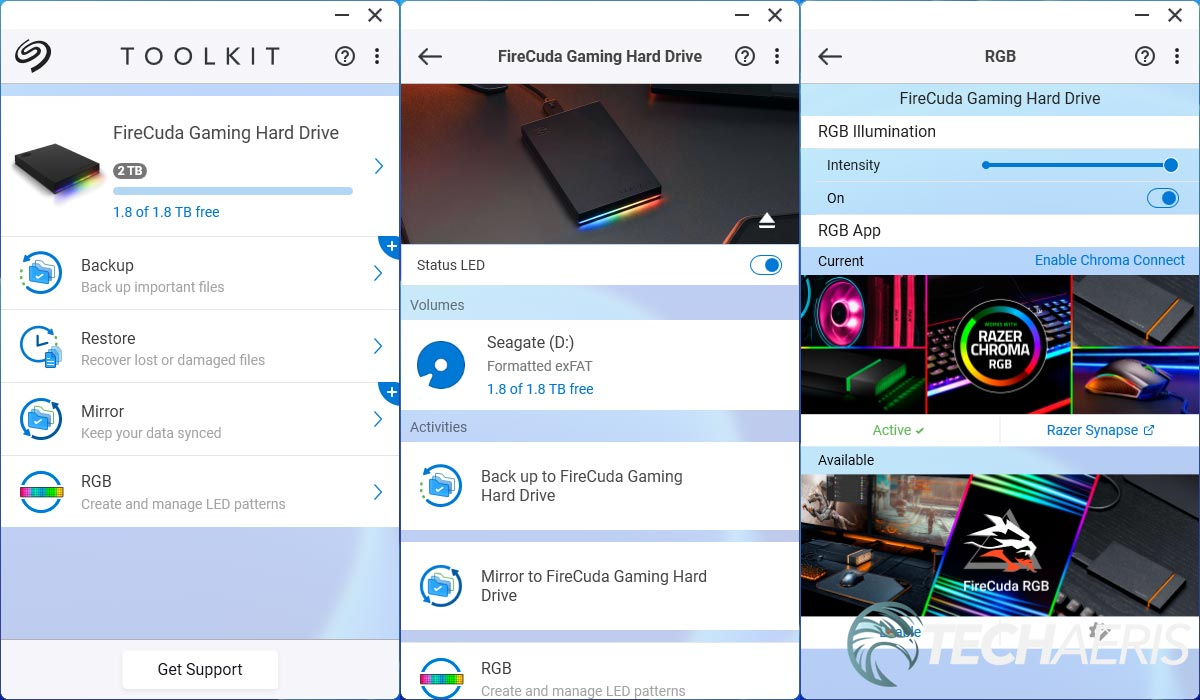 Screenshots from the Seagate Toolkit Windows app