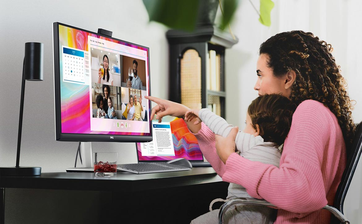 Dell video conferencing monitor with woman and child