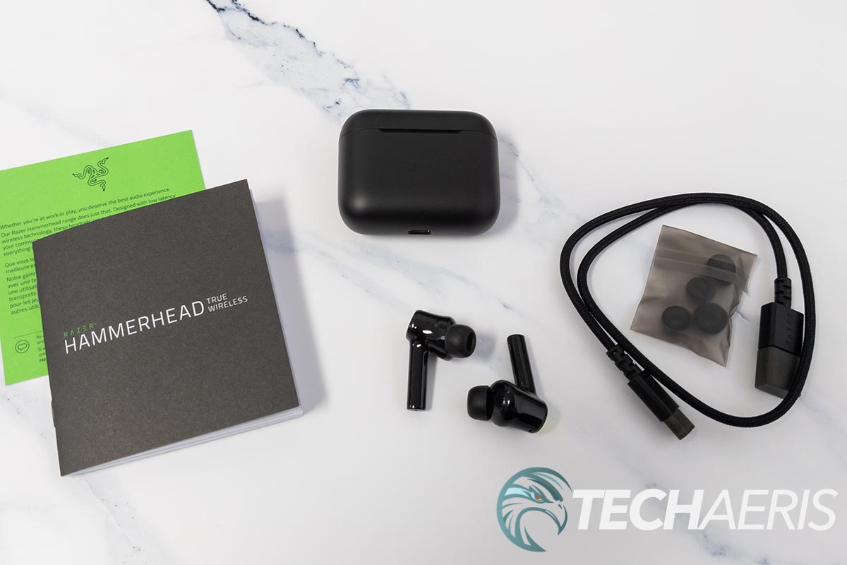 What's included with the Razer Hammerhead True Wireless (2021) earbuds