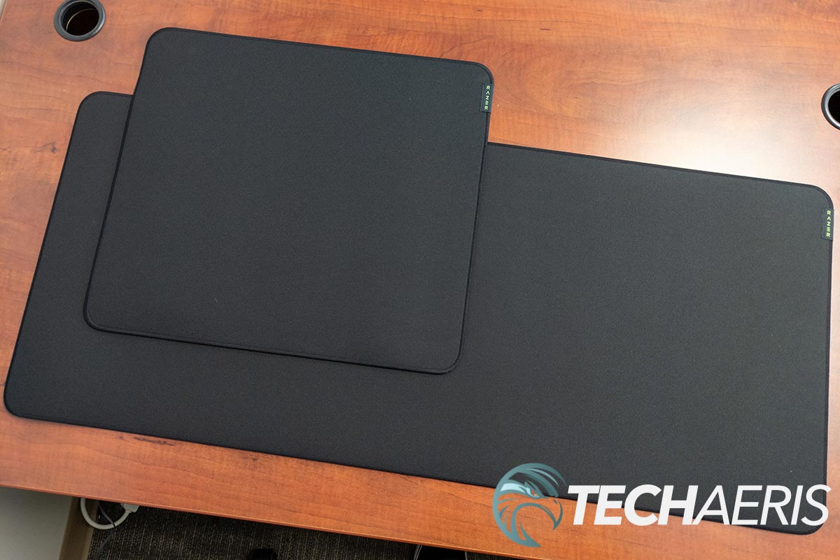 The Razer Strider hybrid mouse mats come in Large (top) and XXL (bottom) sizes