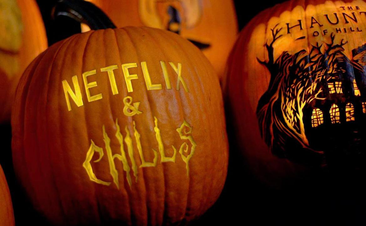 Netflix & Chills 2021 Halloween movies and shows carved pumpkins